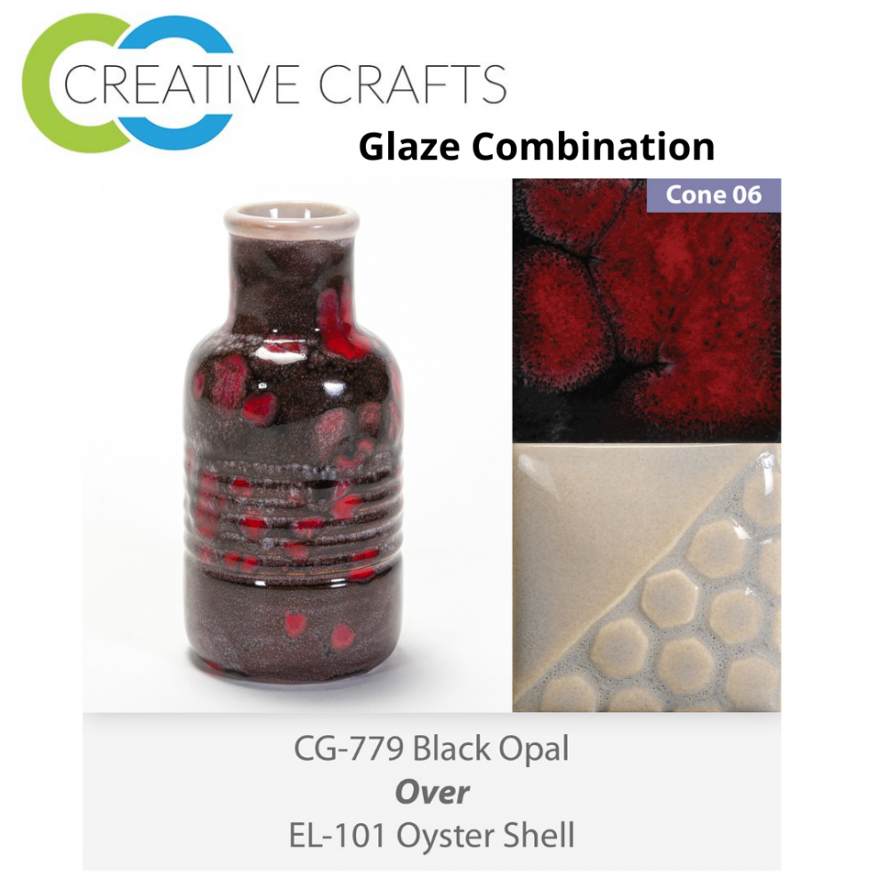 Black Opal - CG779 over Oyster Shell - EL101 Glaze Combination